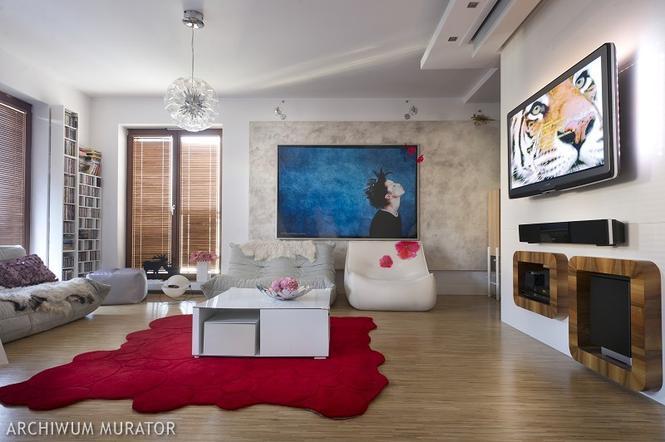 Biały salon z domieszką czerwonego i niebieskiego