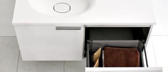 Aranżacja łazienki. Poręczna szafka pod umywalkę- GALERIA