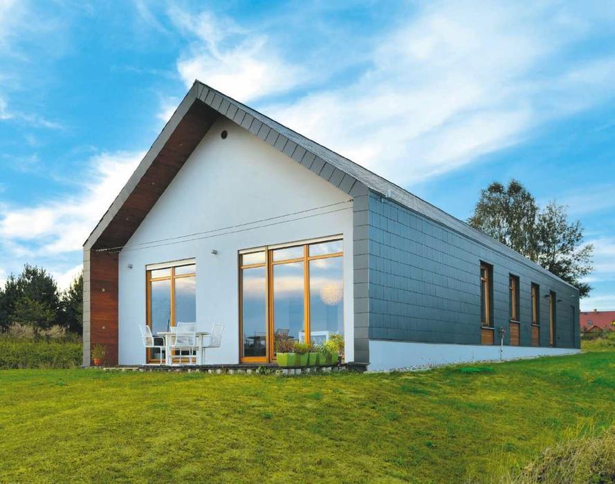 Galeria zdjęć - Dom jak stodoła. Prosty budynek wykończony płytkami włóknocementowymi - zdjęcie ...
